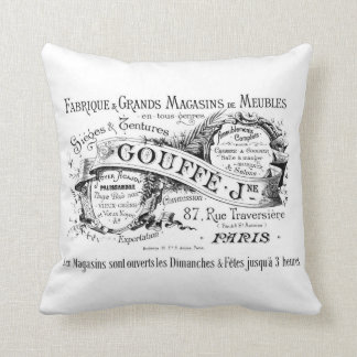 french vintage typography shabby chic cushion throw pillow