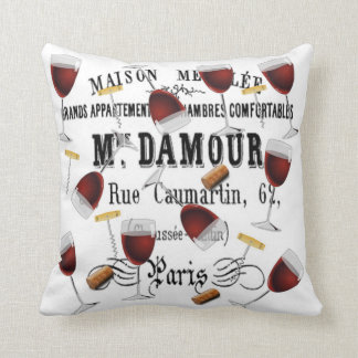 French vintage wine pillow