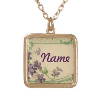 French Violets Square Pendant Necklace