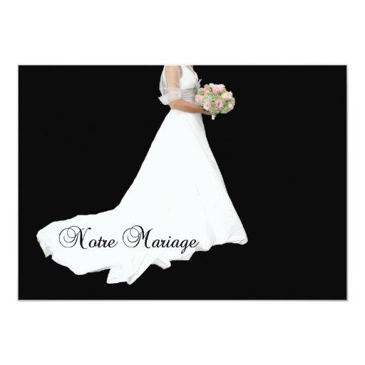 "French wedding invitation white bridal dress on bl 5"" x 7"" invitation card"