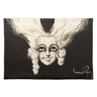 French Wig Bourgoise Aristocrat Vintage Hair Cloth Placemat