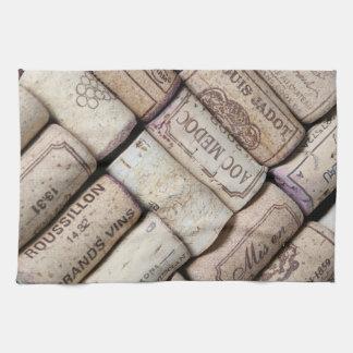 french wine bottle corks kitchen towel
