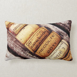 french wine bottle corks on rustic wood lumbar pillow