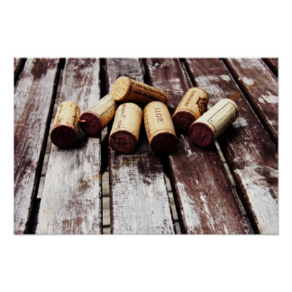 French wine bottle corks on rustic wood poster
