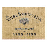 French Wine on Burlap Post Cards
