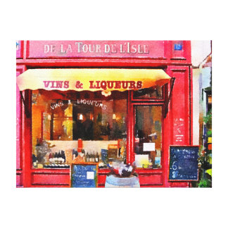 French Wine Shop in Red Canvas Print