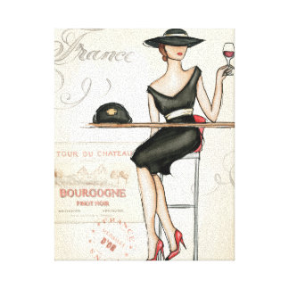 French Woman Drinking Red Wine Canvas Print