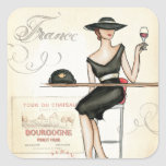 French Woman Drinking Red Wine Square Sticker