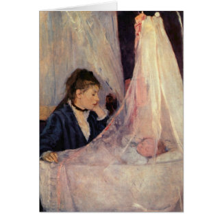 French Woman Looking in Bassinet Card
