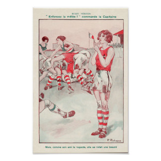 French Women's Rugby - Vintage Print