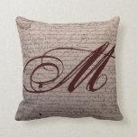 French Writing Monogram Pillow