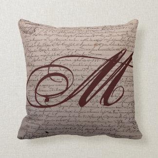 French Writing Monogram Throw Pillow