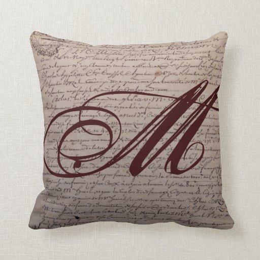 Throw Pillow In French : French Writing Monogram Throw Pillow Zazzle
