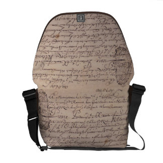 French Writing on Parchment Vintage Letters Courier Bags