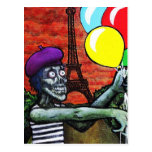French Zombie Mime Postcard