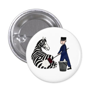 French Zookeeper Zebra Funny Stripes Vintage 1 Inch Round Button
