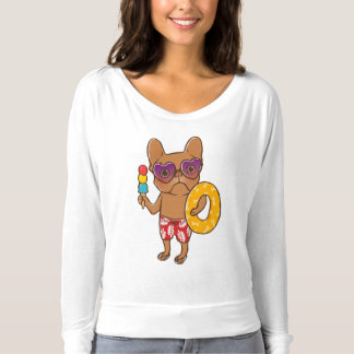 Frenchie at the beach in Summer T-shirt