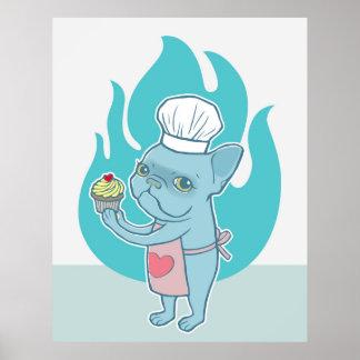 Frenchie azul y su magdalena mágica del amor póster