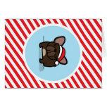 Frenchie Brindle en rayas del bastón de caramelo Felicitaciones