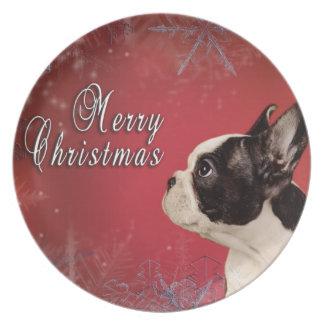 Frenchie Christmas card Melamine Plate