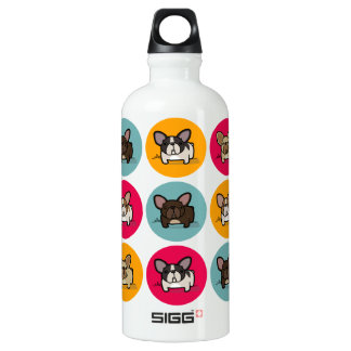 Frenchie Circles - Blue, Gold & Pink Aluminum Water Bottle
