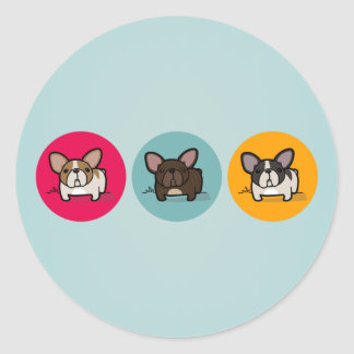 Frenchie Circles - Blue, Gold & Pink Classic Round Sticker