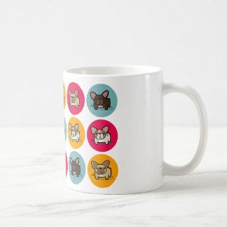 Frenchie Circles - Blue, Gold & Pink Classic White Coffee Mug