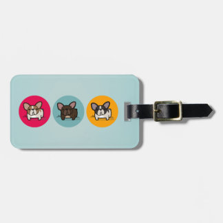 Frenchie Circles - Blue, Gold & Pink Luggage Tag