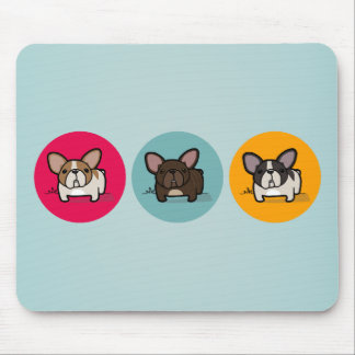 Frenchie Circles - Blue, Gold & Pink Mouse Pad