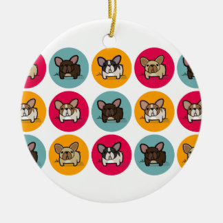 Frenchie Circles - Blue, Gold & Pink Double-Sided Ceramic Round Christmas Ornament