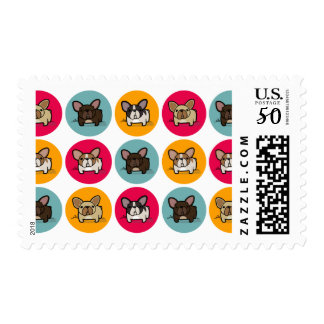 Frenchie Circles - Blue, Gold & Pink Postage