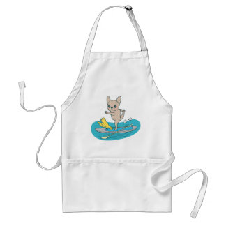 Frenchie doing yoga on stand-up paddle board adult apron