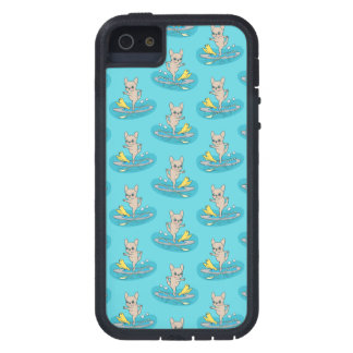 Frenchie doing yoga on stand-up paddle board case for iPhone SE/5/5s