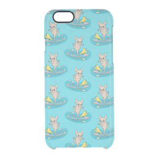 Frenchie doing yoga on stand-up paddle board clear iPhone 6/6S case
