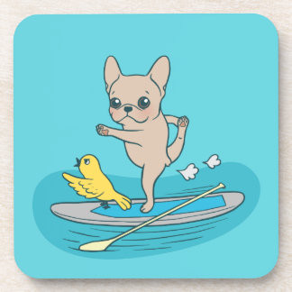 Frenchie doing yoga on stand-up paddle board coaster