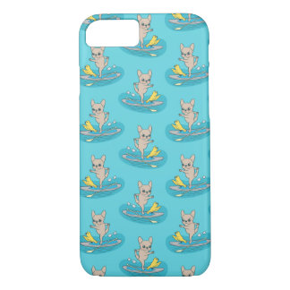 Frenchie doing yoga on stand-up paddle board iPhone 7 case