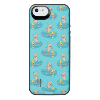 Frenchie doing yoga on stand-up paddle board iPhone SE/5/5s battery case