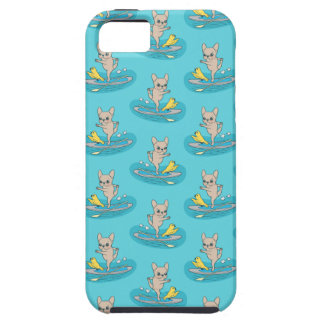 Frenchie doing yoga on stand-up paddle board iPhone SE/5/5s case