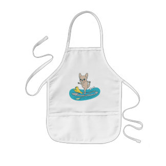 Frenchie doing yoga on stand-up paddle board kids' apron