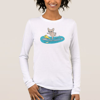 Frenchie doing yoga on stand-up paddle board long sleeve T-Shirt