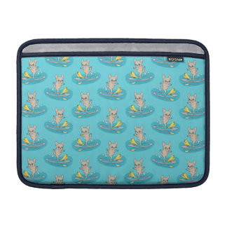 Frenchie doing yoga on stand-up paddle board MacBook air sleeve