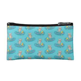Frenchie doing yoga on stand-up paddle board makeup bag
