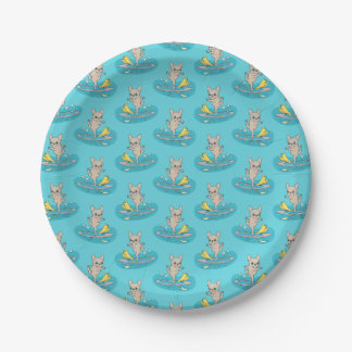 Frenchie doing yoga on stand-up paddle board paper plate
