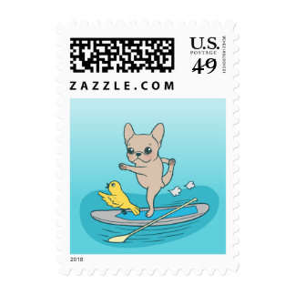 Frenchie doing yoga on stand-up paddle board postage