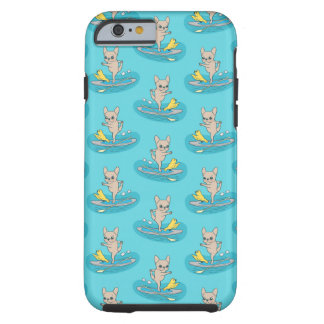 Frenchie doing yoga on stand-up paddle board tough iPhone 6 case