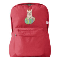 Frenchie & Easter Chick on Colorful Easter Egg American Apparel™ Backpack