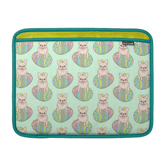 Frenchie & Easter Chick on Colorful Easter Egg Sleeve For MacBook Air