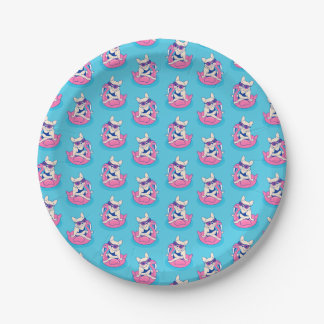 Frenchie enjoys Summer on Flamingo Pool Float Paper Plate
