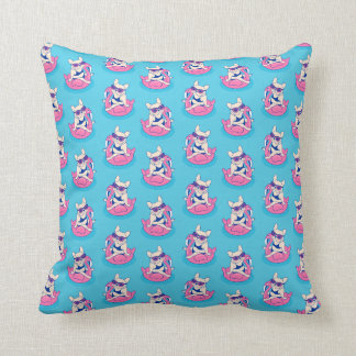 Frenchie enjoys Summer on Flamingo Pool Float Throw Pillow