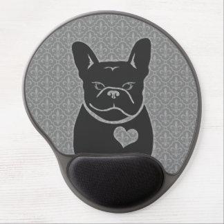 FRENCHIE FLEUR DE LIS Charcoal Grey Gel Mouse Pad